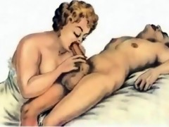 Boys pleasing cougars in cartoon dreams