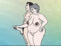 Fantasy lustful granny on the beach! Porn toon